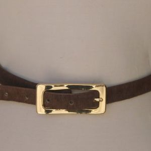 Vintage 80s Skinny Brown Leather Pony Hair Belt L
